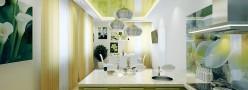 Дизайн натяжных потолков на кухне