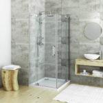 Душевая кабина в ванной комнате с низким поддоном